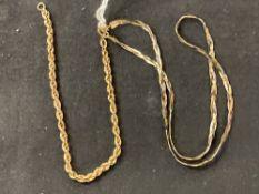Hallmarked Gold: 9ct. Gold bracelet and necklet hallmarked London and Birmingham import marks. Total