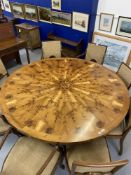 Artisan Furniture: Superb 1970s Alan Solly of Marlborough circular yew dining table with sectional