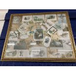 Ephemera: Late 19th/early 20th cent. Christmas cards presented mounted in a frame. 24ins. x 19ins.