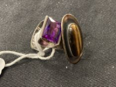 20th cent. Danish Silver Jewellery: Rings, Niels Erik From, set with banded agate plus an