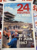 Motorsport: Le Mans 24 hour 1967 colour promotional poster mounted on canvas. 16ins. x 25ins.