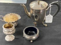 Hallmarked Silver: Bachelor coffee pot, egg cup, cream jug, and salt, various hallmarks. Total
