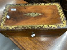 19th cent. Mahogany writing slope with brass inlay and fitted interior. (Requires restoration)