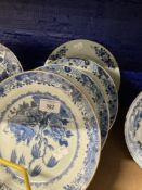 Chinese Export Ware: Blue and white plates depicting willow decoration x 3, plus one other similar
