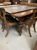 19th cent. Mahogany extending dining table with two leaves.