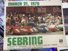 Motorsport: Sebring 1970 colour promotional poster mounted on linen. 24ins. x 19ins.