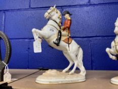 20th cent. Ceramics: Augarten Spanish riding school figurines 'Couxbette' rider with rearing horse -