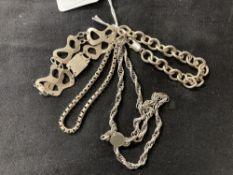 Hallmarked Silver: Four bracelets hallmarked London and Birmingham. Total weight 70g.