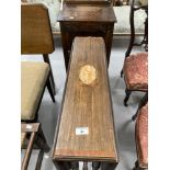 19th cent. Mahogany Sutherland table with inlaid central motif, plus an oak pot cupboard.
