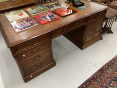 20th cent. Mahogany partner's desk with leather skiver. 72ins. x 41ins.