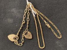 Hallmarked Gold: 9ct. Gold three bracelets hallmarked London. Total weight 9·7g.