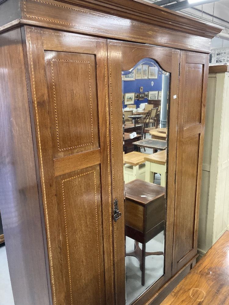 Edwardian mahogany inlaid double wardrobe. 47ins.