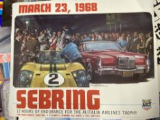 Motorsport: Sebring 1968 colour lithograph by Michael Turner. 24ins. x 19ins.
