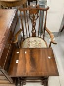 20th cent. Spindle back elbow chair, plus a nest of tables.