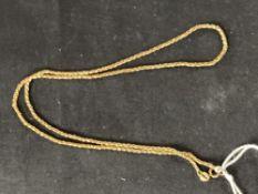 Hallmarked Gold: 9ct. Gold chain, hallmarked London import. Weight 6·3g.