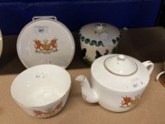 20th cent. Gladstone China crested ware teapot on stand and sugar bowl decorated with the Welsh