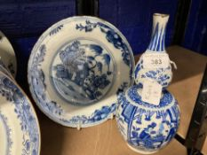 17th/18th cent. Dutch Delft blue and white double gourd vase G K mark to base Gerrit & Kam 10ins.