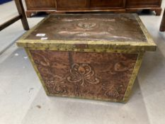 Art Nouveau: Copper and brass coal box with original liner, decorated with stylised motifs. 21ins.