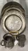 18th/19th cent. Pewter: Hot water plate, baluster shape pewter ale or wine measure from Fish and
