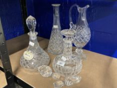 19th & 20th cent. Glassware: Collection of two claret and two ships decanters.