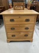 Edwardian satinwood chest of three drawers. 33ins.