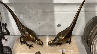 Art deco style brass Asiatic pheasants Lady Amherst, on marble stand - a pair facing. Height