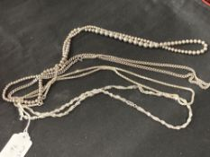 White Metal Jewellery: Four necklets all test as silver, all stamped 925. Total weight 116·6g.