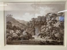 Hugh William Williams (1773-1829): Sepia wash drawing of a 'Upland Wooded River Landscape', signed