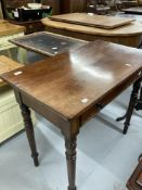 19th cent. Mahogany hall table with single drawer on tapering supports. 34ins.