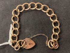 Hallmarked Gold: 9ct. Gold bracelet with padlock fastener. Hallmarked London. Weight 17·6g.