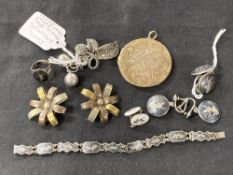 Hallmarked Silver: Five pairs of earrings, one ring, one brooch, one bracelet, and one silver gilt