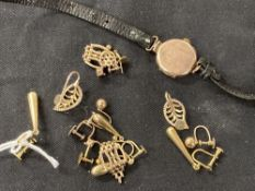 Jewellery: Yellow metal marked 9ct. earrings. Ball, drop x 2, link 6 pairs. Approx 8g. Plus a watch.