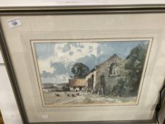 Stanley Orchart (1920-2005): Watercolour 'South Yorkshire Barn'. 10ins. x 14ins.