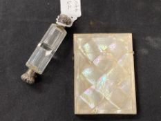 19th cent. White metal & cut glass double ended perfume flask with stopper L 4ins. plus a mother