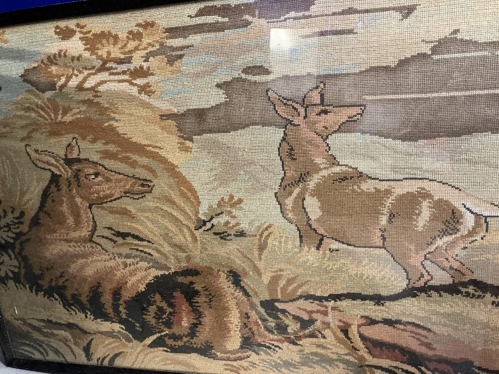 20th cent. Needlepoint tapestry of standing deer, another of a stylised classical scene. 32ins. x - Image 2 of 3