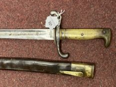 Edged Weapons: Franco - Prussian War period German Mauser 1871 pattern bayonet in its original brass