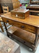 19th cent. Mahogany buffet, two drawer on turned supports.