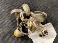 Hallmarked Silver: Nine assorted silver rings hallmarked London and Birmingham. Total weight 42·3g.