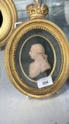18th cent. Cameo wax relief portrait HRH George III, modelled for Benjamin West Ponzini, label to