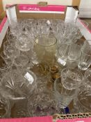 20th cent. Glassware: Large selection of glasses, tumblers, and brandy.