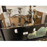 Metalware: 19th-20th cent. Pair of brass candlesticks, white metal candelabra, cruet set, scuttle