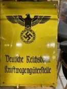 Militaria:Third Reich German Railways enamelled steel sign.