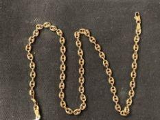 Hallmarked Gold: 9ct. Gold necklet Birmingham import stamp. Weight 10·9g.