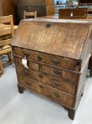 18th/19th cent. Walnut banded drop front bureau, fitted interior, on bracket feet and swan neck