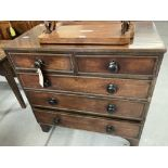 Early 19th cent. Mahogany chest of drawers, two over three, beaded decoration.