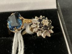 Hallmarked Gold: 9ct. Gold ring set with diamonds and sapphires, hallmarked Birmingham. Plus a
