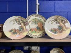 Royal Doulton: Under the Greenwood Tree Series, chargers (scene 12), a pair. 13½ins. Dia. Plus Under