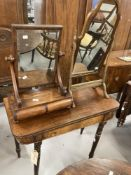 19th cent. Mahogany dressing table mirror with two drawers beneath. 17ins. Plus one other.