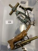 Wine Collectables/Corkscrews: 20th cent. Novelty corkscrews. Screw type with moulded signs of the