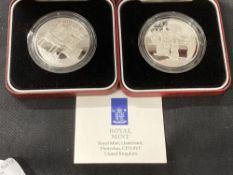 Proof Coins: 1996 Elizabeth II 70th Birthday silver proof crown £5 x 2. Both boxed.